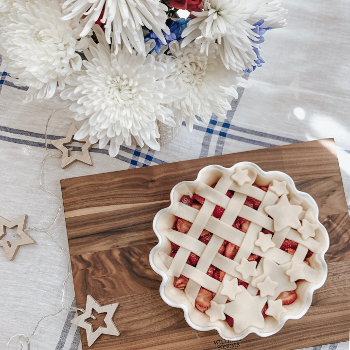 """Stars and Stripes"" Strawberry Pie."